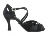 Zapato de baile Danc'in con Punta Abierta en Nobuk y Satén Negro con Tacón de 7,5cm