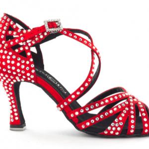 Zapato de baile Danc'in de Satén Rojo con Tacón 7,5c