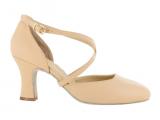 Zapato de baile en Cuero Flexible de color Nude con Tacón de 7,5cm