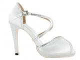 Zapato de Baile Danc'in en Satén Blanco de plataforma con Tacón 10,5cm