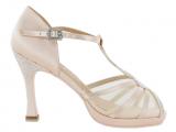 Zapato de baile Danc'in con plataforma de suela flexible en Satén Rosa con Tacón 10cm