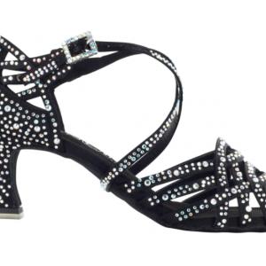 Zapato de baile Danc'in en Satén Negro con Tacón 5,5cm