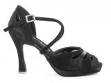 Zapato de baile Danc'in de Plataforma en Satén y Nobuck Negro con Tacón 10cm