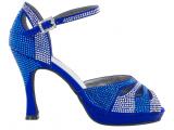 Zapato de baile Danc'in de plataforma en Satén Azul Cobalto con Tacón 10cm