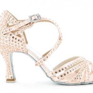 Zapato de baile Danc'in de Satén Rosa Pálido con Tacon de 7,5cm