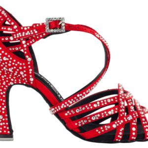 """Zapato de Baile Danc'in """"MANOLA AILLAUD"""" de Edición Limitada en Satén Rojo con Tacón de 8cm"""