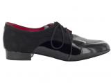 Zapato de baile Danc'in con Cordones en Charol y Nobuck Negro, Modelo Derby con Tacón de 2,5cm