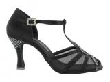 Zapato de baile Dac'in en Satén negro con decoración en Tacón de 7,5cm