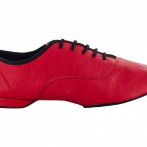 Zapato de baile Jazz, Danc'in en Cuero Rojo con Suela Superflex de DRS Vibram con Tacón de 1cm