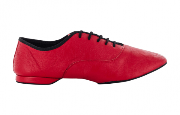Zapato de baile Jazz, Danc'in en Cuero Rojo con Suela Superflex de DRS Vibram con Tacón de 1cm