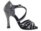 """Zapato de baile Danc'in """"SILVIA ACCOSSATO"""" de Satén Negro con Tacón 10cm"""