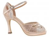 Zapato de baile Danc'in de Plataforma en Satén Rosa Pálido con Tacón 10cm