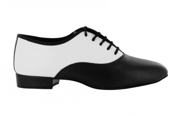 Zapato de baile Danc'in con Cordones en Cuero Blanco y Negro con Tacón de 2,5cm