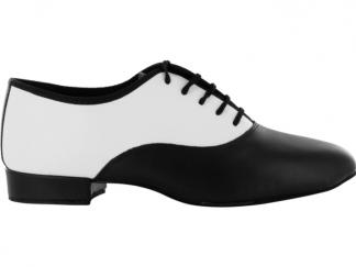 b2455b57 Zapato de baile Danc'in con Cordones en Cuero Blanco y Negro con Tacón de  2,5cm