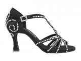 Zapato de baile Danc'in de Satén Negro con Tacón 7,5cm