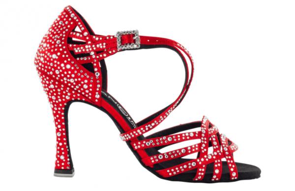 """Zapato de Baile Danc'in """"MANOLA AILLAUD"""" de Edición Limitada en Satén Rojo con Tacón de 10cm"""