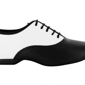 Zapato de baile Danc'in con Cordones en Cuero Negro y Blanco con Tacón de 1cm.