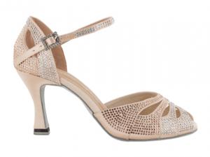 Zapato de baile Danc'in de Satén Rosa Palo con Tacón de 7,5cm