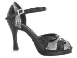 Zapato de baile Danc'in de Plataforma en Satén Negro con Tacón 10cm