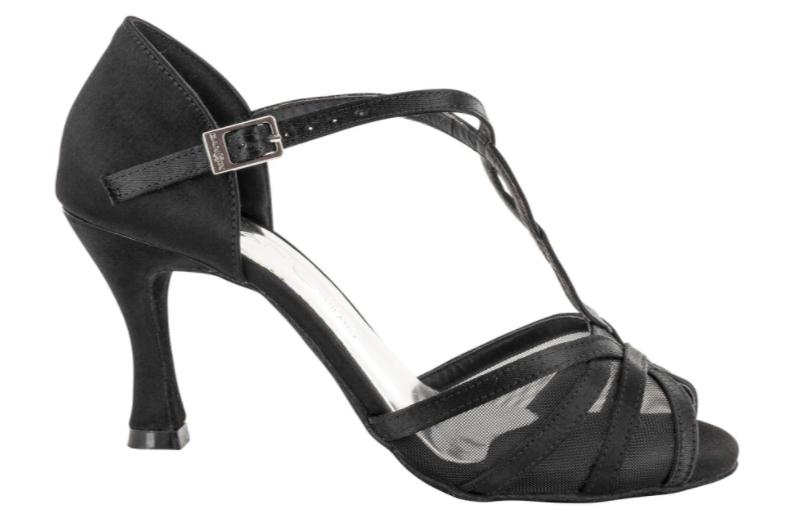 Zapato de baile Danc'in en Raso Negro con redecilla en Tacón de 7'5cm