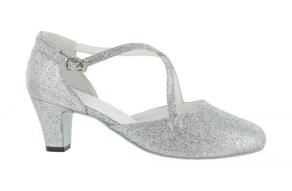 Zapato de baile Danc'in en Tejido de Purpurina plateado con Tacón 5cm