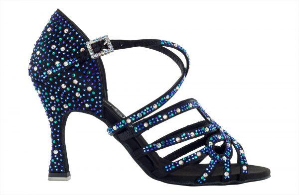Zapato de baile Danc'in de tiras cruzadas con Crystal Azul de Tacón de 7'5cm