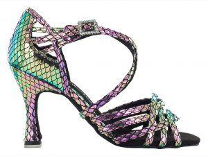 Zapato de baile Danc'in de Edición Limitada en Cuero con Efecto Serpiente en Metal Iridiscente de Tacón de 7'5cm