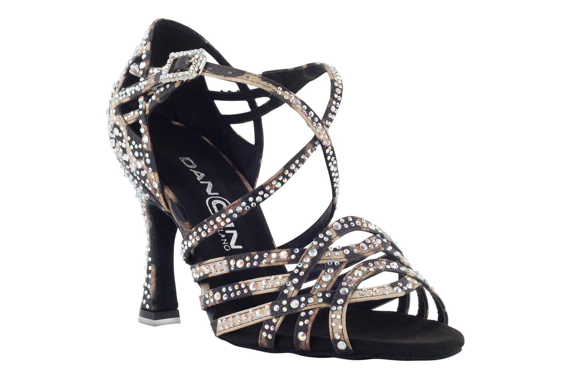 """c7084297 Zapato de baile Danc'in de Edición Limitada """"SILVIA ACCOSSATO"""" en Raso de  piel de Leopardo con Tacón de 7'5cm"""