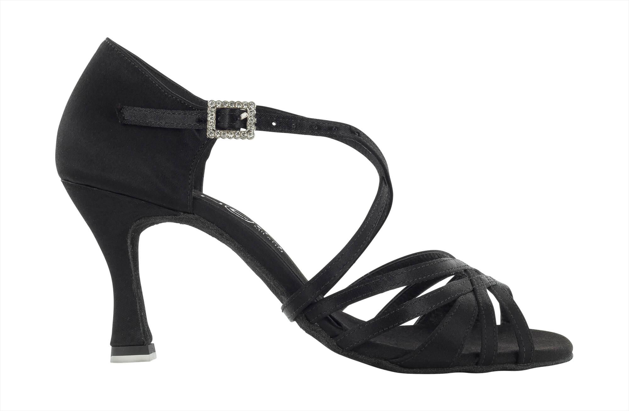 Zapato de baile Danc'in en Satén Negro con Tacón de 7'5cm