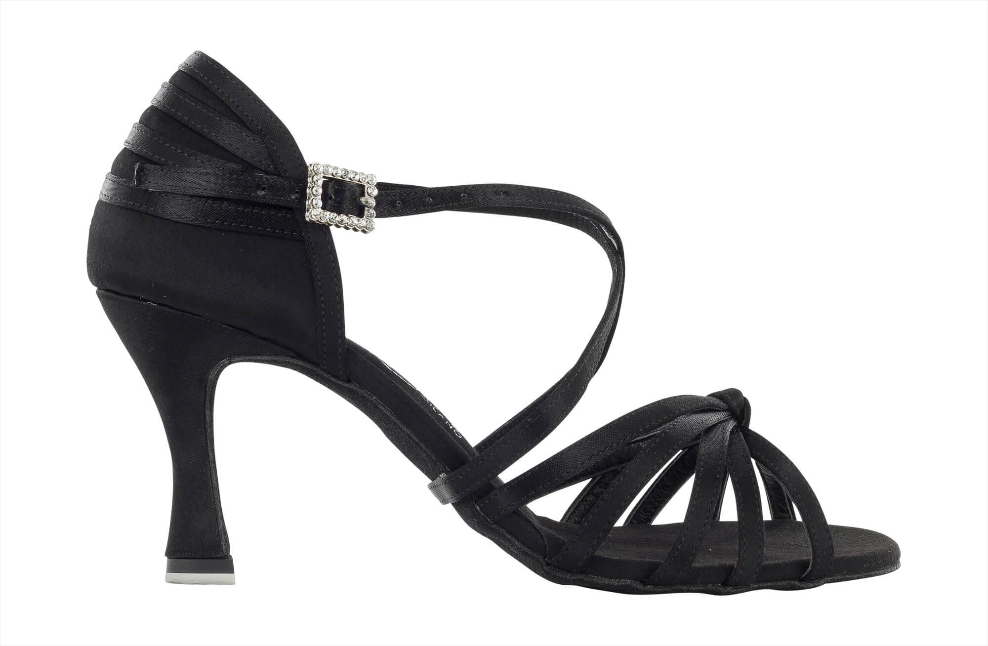 Zapato de baile Danc'in de Raso Negro con Nudo en Tacón de 7'5cm