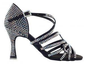 Zapato de baile Danc'in en Raso Negro con Tiras Cruzadas en Tacón de 8cm