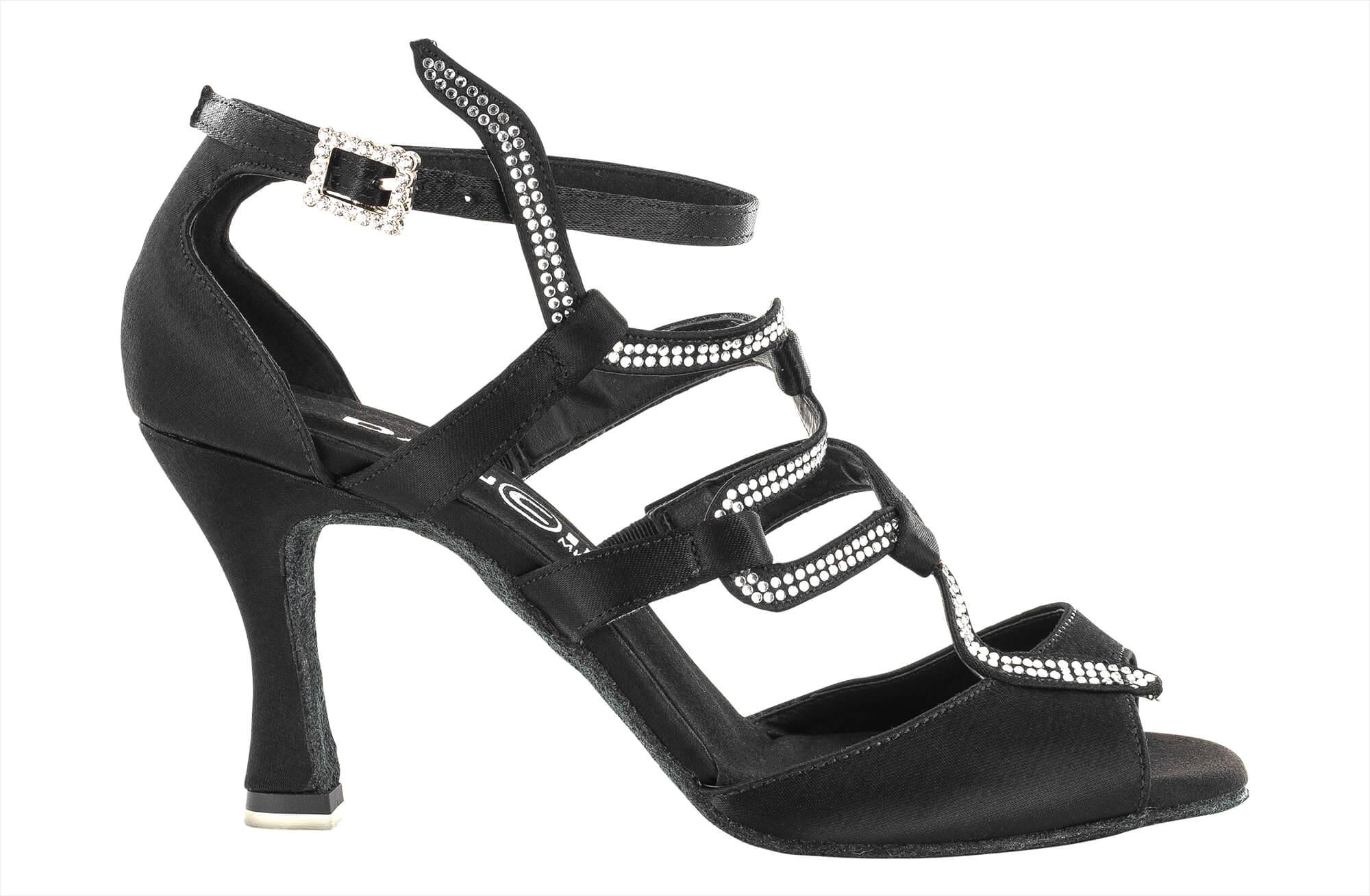 Zapato de Baile Danc'in con motivo «SNAKE» en Raso Negro con Tacón de 7.5cm