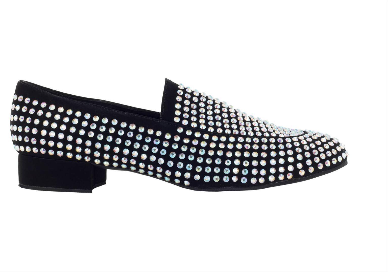 Mocasín Danc'in en negro cubierto de Crystal Strass con Tacón de 2'5cm