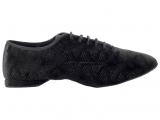 Zapato de baile Danc'in Jazz en Terciopelo Negro Vogue con Suela Superflex de DRS Vibram con tacón de 1cm