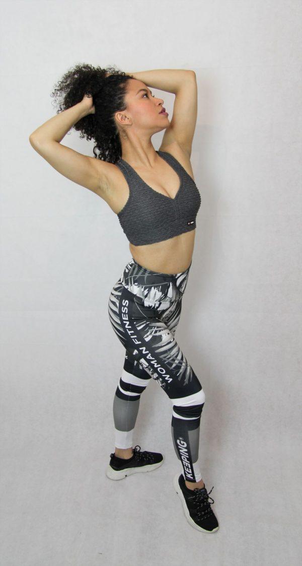 legging deportivo IDance, negro palmera