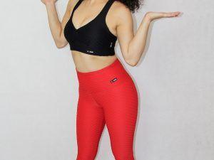 legging deportivo IDance, brocado rojo