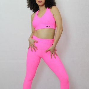 Legging deportivo IDance, brocado rosa flúor
